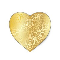 Lacy Gold Heart Sticker from Zazzle.com
