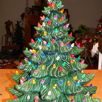 "Ceramic Christmas Tree  Evergreen Green XL 23"" Vintage style Lighted -  180 lights 9 colors  4 Pc Tree ATLANTIC"