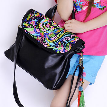 chinese style women's embrodery handbag ladies cause Folk Style Embroidered bag handbag handmade flocculus PU Leather Shoulder