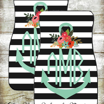 Monogram Car Mats-Car Accessories-Car Mats-Personalized Car Mats-Monograms-Anchor Car Mats-Watercolor Flowers