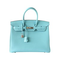 Hermes Birkin 35 Bag Fresh Blue Atoll Togo Palladium