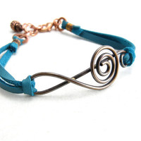 Unisex Copper Treble Clef Music Note Bracelet Turquoise Leather and Copper Bracelet