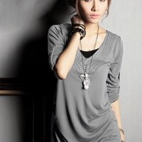 Wholesale Heart Collar Hollow Out Long T-shirts