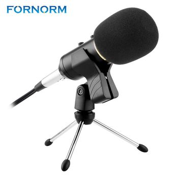 FORNORM Professional Handheld Condenser Microphone Computer Microphone Stand Tripod Wired 3.5mm Jack For Recording Studio