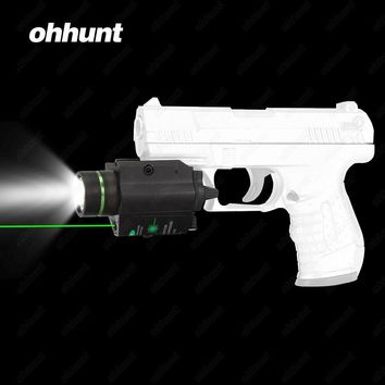 ohhunt Ultra Bright 200 Lumens LED Flashlight and Green Laser Combo with Weaver Picatinny Type Mount For Pistol M4 Rifle Hunting