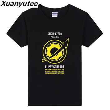 Anime T-Shirt cosplay Xuanyutee Steins Gate Zero T-shirt Men Anime Cartoon Cotton O-neck Short Sleeve Flock Print Tee Shirt Homme EU 3XL Drop Shipping AT_57_4