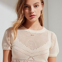 UO Nina Short Sleeve Pointelle Sweater | Urban Outfitters