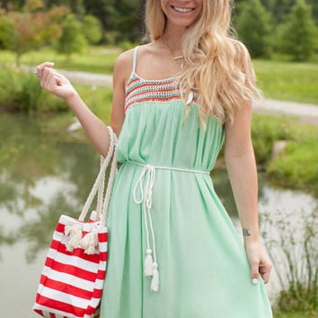 Said It Meant It Mint Crotchet Trim Boho Dress - Lotus Boutique