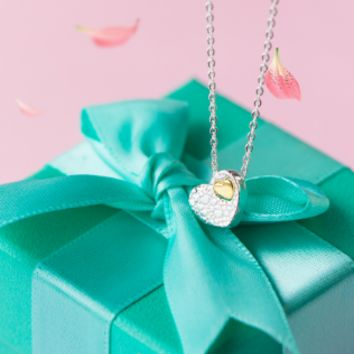 925 sterling silver cute heart in heart necklace D2735 -0415 -Gifts box