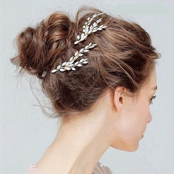Lovely Crystal Wheat Bridal Hair Combs Wedding Jewelry Cute Branch Rhinestone Princess Headpiece