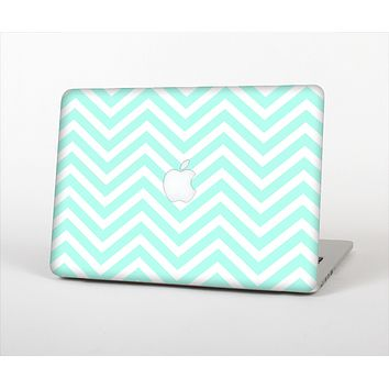 The Light Teal & White Sharp Chevron Skin Set for the Apple MacBook Air 13""