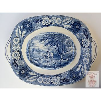 Vintage Blue Transferware Tab Handled Platter Woods Woodland Pastoral Horse & Plough Dog Farmhouse