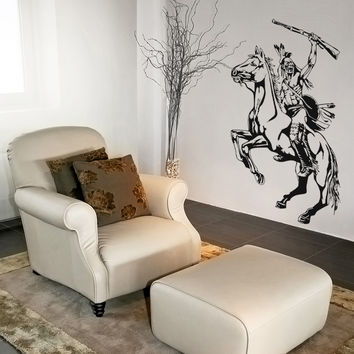 Vinyl Wall Decal Sticker Native American Warrior #OS_AA395
