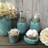Mason Jar Bathroom Set,Ball Mason Jar,Toothbrush Holder,Housewarming Gift,Wedding Gift,Rustic Home Decor,Bathroom Decor,Soap Dispenser Jar