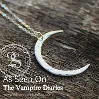 Fine Silver The Vampire Diaries Crescent Moon Necklace Personalized With Initials - Worn By Bonnie On Season 4 Episode 12