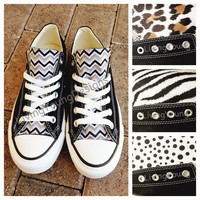 Chevron Custom Converse Animal Print Chuck Taylors