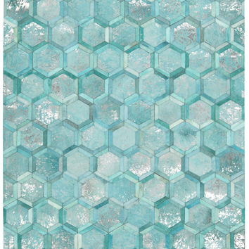 Michael Amini City Chic Turquoise Area Rug By Nourison MA100 TURQU (Rectangle)