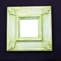 Distressed Antiqued Spring Green Mirror