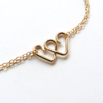 Infinite Love Bracelet 2 Heart Infinity Bracelet Friendship Bracelet Bridesmaid Jewelry Best Friends Gift Sisters Bracelet Rose Gold or Gold