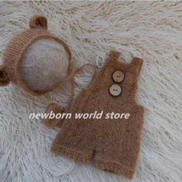 Newborn Photography Props Mohair Bear Hat And Mohair Pants