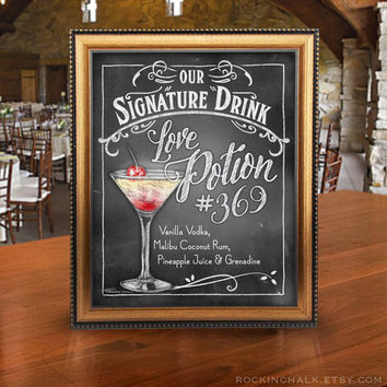 Sweet Signature Drink Signs | Chalkboard Style | Valentine Bar Decorations UNFRAMED Prints | Valentine Weddings, Showers, Rehearsal DInners