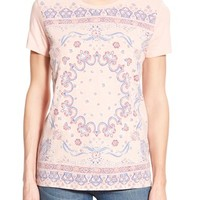 Women's Lucky Brand Bandana Print Cotton Tee,