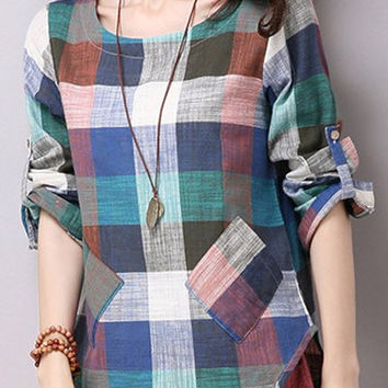 Multi-Color Plaid Patch Pockets Long Sleeve Blouse