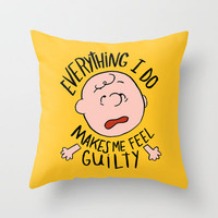 CHARLIE BROWN Throw Pillow by Josh LaFayette