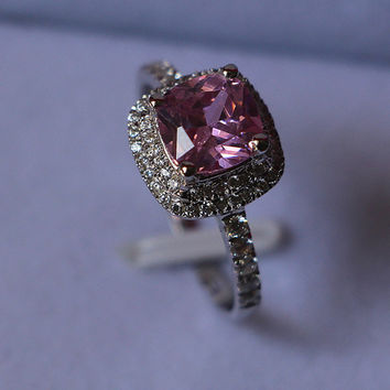 1 Carat 750 White Gold Pink Halo Credible Synthetic Diamond Wedding Ring For Women Surprise Quality With Non Other Metal