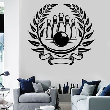 Wall Stickers Vinyl Decal Sport Bowling Skittles Entertainment Center Unique Gift (ig325)