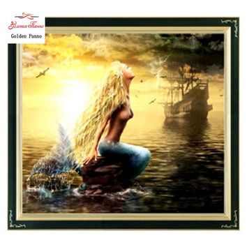 Needlework,DIY DMC Cross stitch,Sets For Embroidery kits,Precise Printed Mermaid Patterns Counted Cross-Stitching