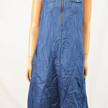 INC Concepts Women's Blue High-Low Denim A-Line Trapeze Dress 12