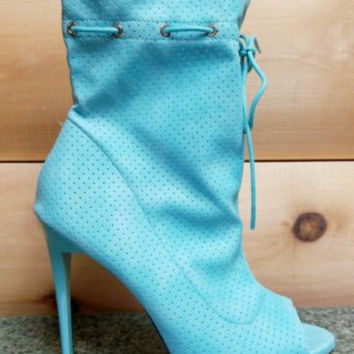 """Alectrona Open Toe Perforated Drawstring Ankle Boots Powder Mint  - 4.75"""" Heels"""