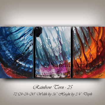 """Large Wall Art Painting ABSTRACT PAINTING contemporary ART on canvas modern 72"""" huge red blue handmade original online gallery, Nandita"""