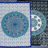 Gypsy Rose :: Tapestries :: TAPESTRY - SUN MOON MANDALA TAPESTRY TWIN BEDSPREAD