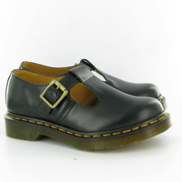 Dr Martens Polley T-Bar Shoes in Black