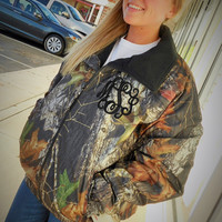 Monogrammed Mossy Oak Fleece Lined Waterproof Jacket  Font Shown INTERLOCKING
