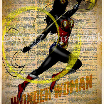 Wonder Woman Print - Wonder Woman wall art - Vintage pop art  - Retro Super Hero Art - Dictionary print art