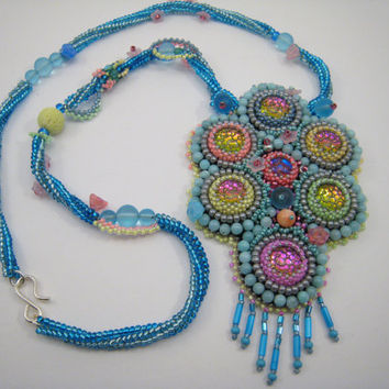 Pastel Colored Bead Embroidery Necklace, Spring Colored Chain, Colorful Glass Beads, Turquoise Beadwork, Candy Colored Jewelry