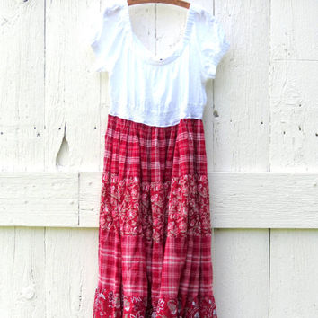 Bohemian Peasant Dress womens size Large XL upcycled boho babydoll recycled refashioned eco friendly fash , upcycled clothing by wearlovenow