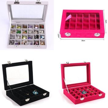 Tray Jewelry Velvet Ring Box Display Earring Show Storage Organizer Women Fashion 24 Grid Case Glass Holder Stand