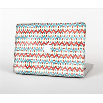 "The Vintage Red & Blue Chevron Pattern Skin Set for the Apple MacBook Pro 13"" with Retina Display"