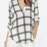 White Plaid V-Neck Chiffon Blouse
