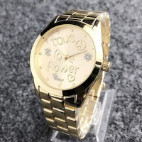 Tous New fashion dial letter shining floral loving heart watch golden
