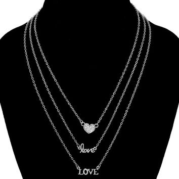 "Layered ""Love"" Necklace & Stud Earring Set"