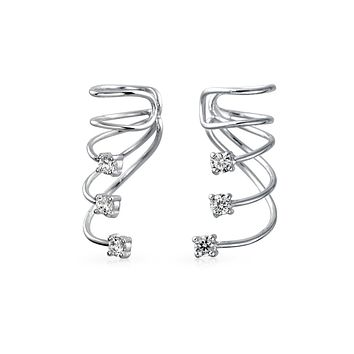 Minimalist Triple Spiral CZ Wire Cartilage Ear Cuff Wrap Earring