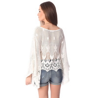 White crochet lace poncho top