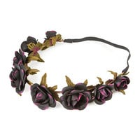Black Roses Garland Headwrap