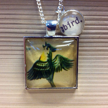 Green Blue Bird Vintage Recycled Materials 1959 Wonder Book Illustration Card Catalog Silver Glass Pendant Necklace