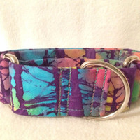 Indian Batik Wavy Stripes Purple Martingale or Quick Release Collar